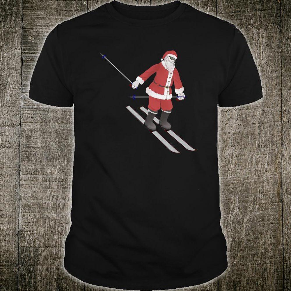 Santa Skiing Christmas Winter Downhill Snow Skiing Santa Shirt