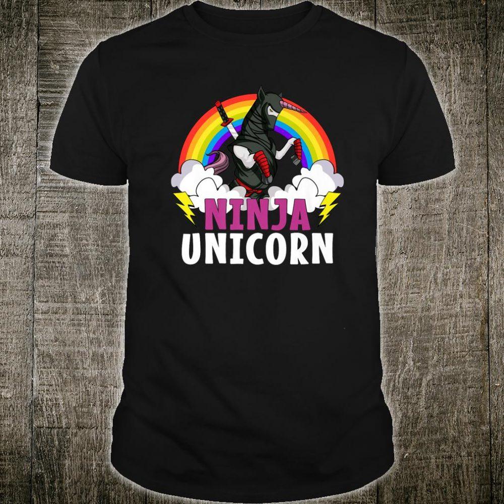 Unicorn Ninja Samurai Martial Arts Karate Rainbow Boys Shirt