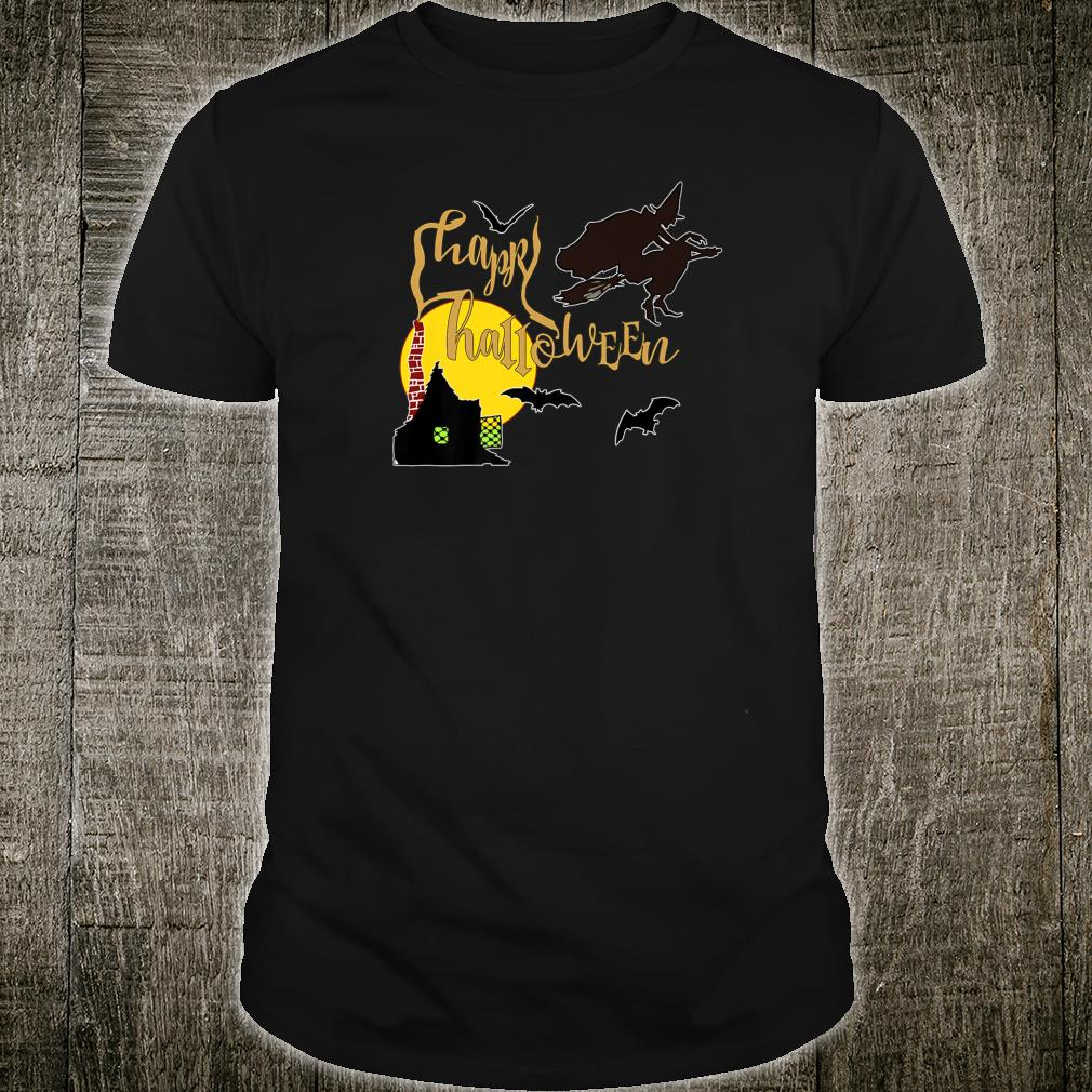 Vintage Flying Witch and Bats Happy Halloween Scenes Shirt