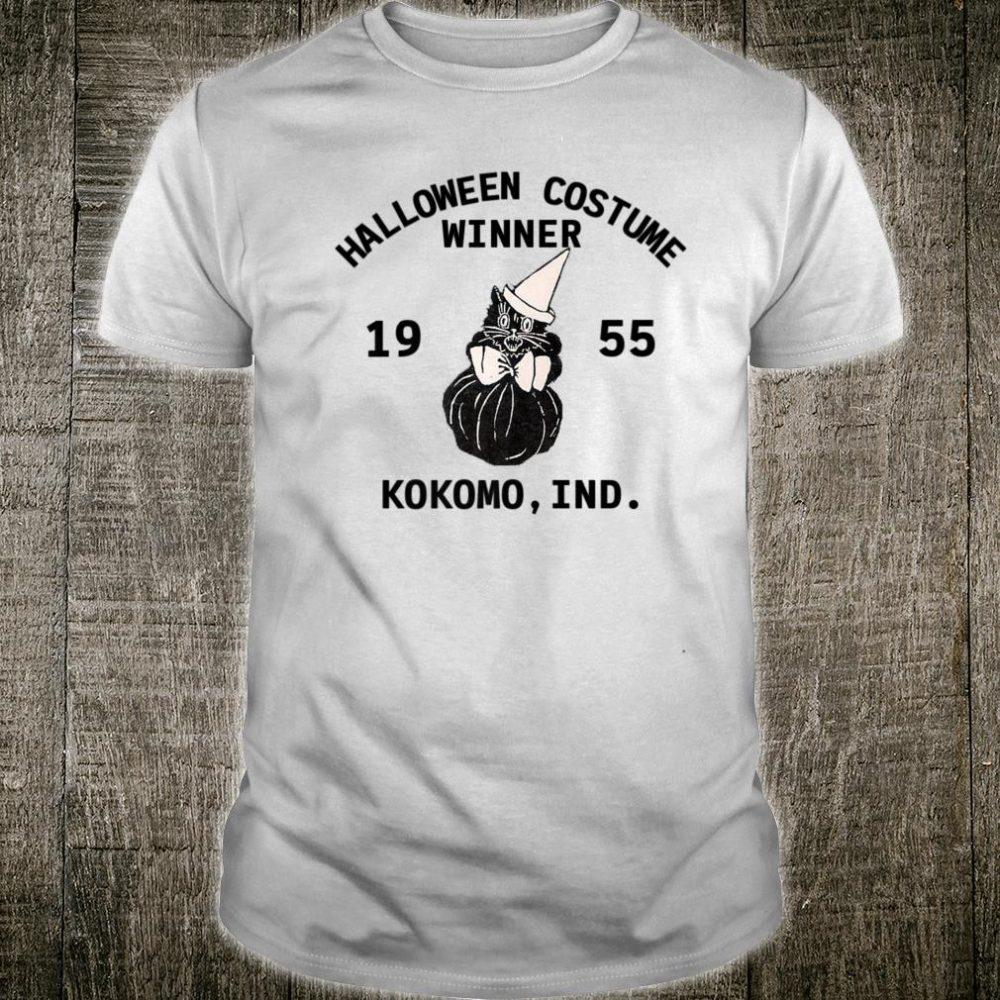 Vintage Halloween Black Cat Costume Winner Retro Rockabilly Shirt