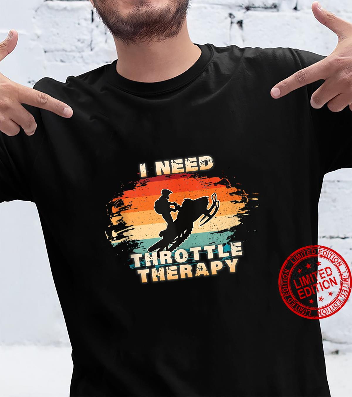 Vintage Retro I Need Throttle Therapy for Snowmobilers Shirt