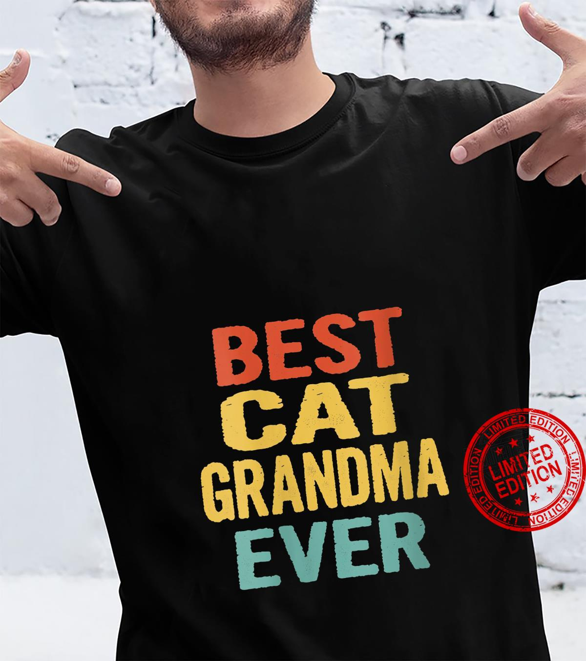 Womens Vintage Best Cat Grandma Ever Retro Birthday Shirt