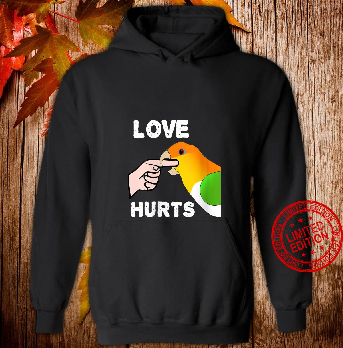 Womens White Bellied Caique Parrot Love Hurts Shirt hoodie